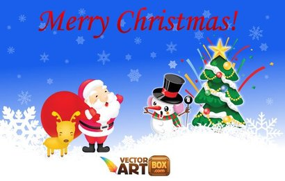 X-mas Vector. Santa with Reindeer