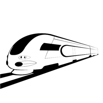Abstract Sketch Black & White Bullet Train