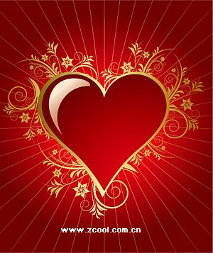 A red crystal heart-shaped pattern