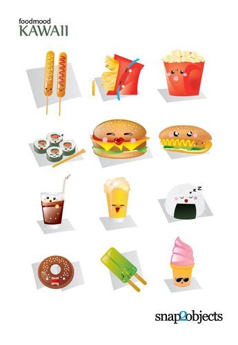 Free Vector Kawaii Fast Food