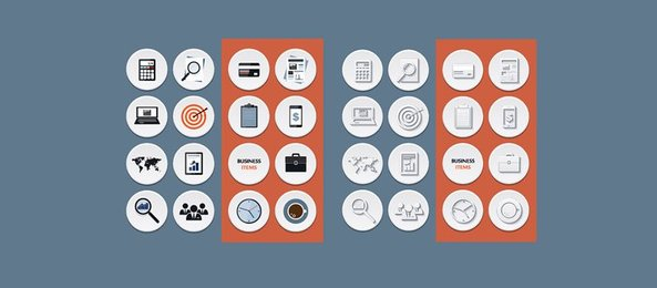 16 Circle Flat Business Style Icons Pack