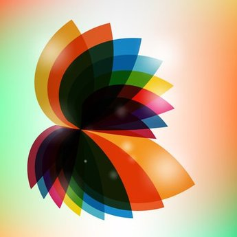 Multicolor Rotated Fluorescent Abstract Leaves