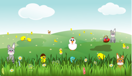Easter Landscape with bunnies, chicks, eggs, chicken, flowers