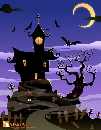 Free Haunted House Halloween Background