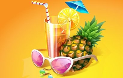 Vector Illustration of a Stylized Tropical Cocktail