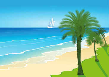 Cartoon seaside scenery