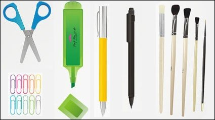 Pencil, pen, crayon, pencil sharpener, scissors, pen, rubber