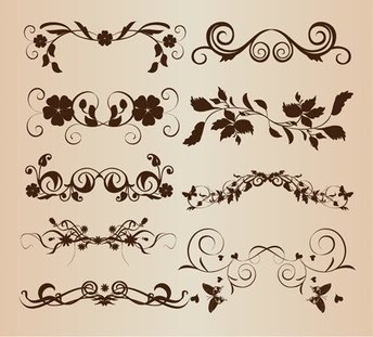 Decorative Floral Elements for Design Vector Set