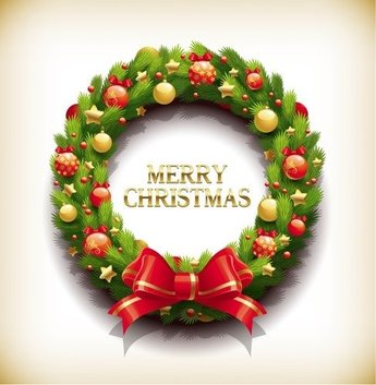 Christmas Wreath with Decorations Vecror Illustration