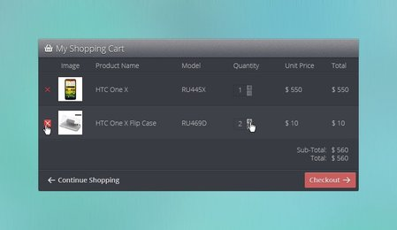 Shopping Cart Interface