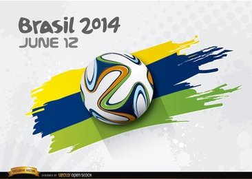 Football rolling over Brasil 2014 colors