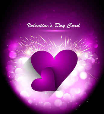 Purple Valentines Day greeting card