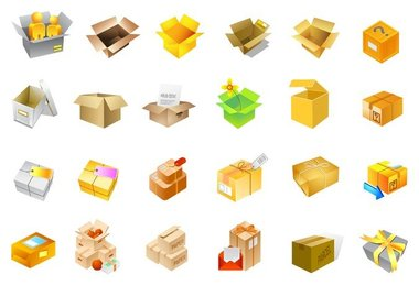 cardboard boxes of