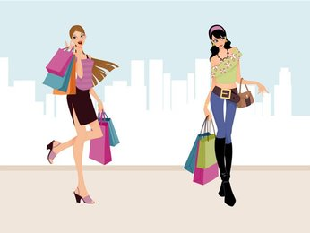 Fashion Shopping Girls Vector Art