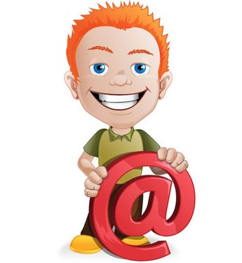 Male Vector Character with Email Symbol