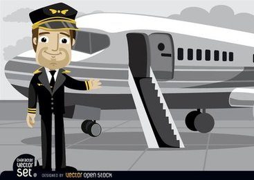 Pilot in front of plane