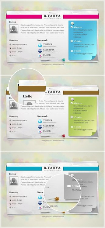 Paper vCard: Free PSD Web Page Template