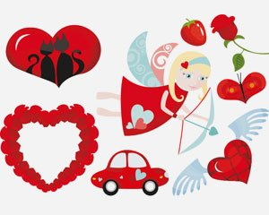 stock vector valentine day icon-elements
