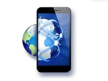 Global business, smartphone with globe icon (PSD)