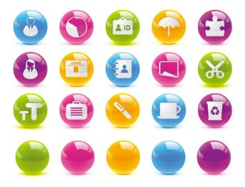 Button icon vector material texture of the crystal ball