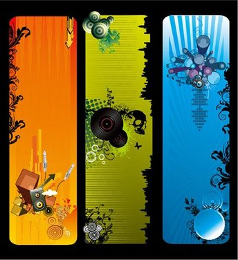 Vector musical theme shaped vertical banner material