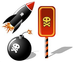 Skull Vector material elements of a missile bomb
