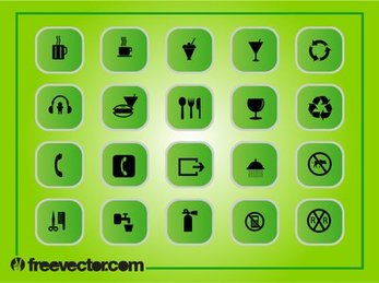 Green Square Flat Icon Pack