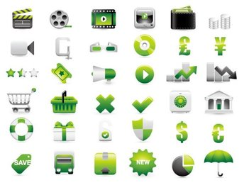 Green shopping site decoration icon