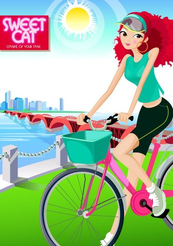 Fashion Girls Vector material cycling