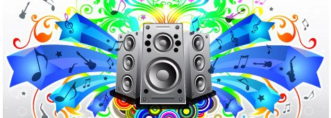 Multicolored music and speakers