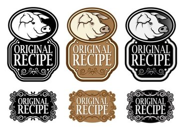 Black and white royal style ingredients label 02 - vector ma
