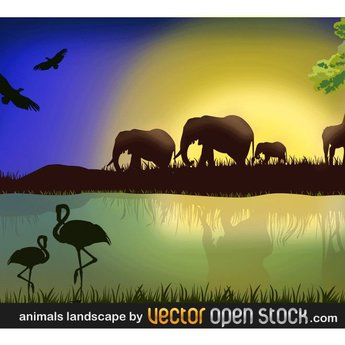 AFRICAN LANDSCAPE VECTOR IMAGE.ai