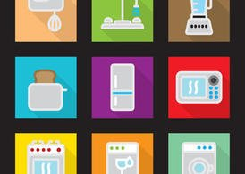 Modern Kitchen Vector Flat Icons