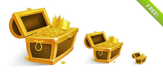 Treasure Chest with Golden Coins and Crown