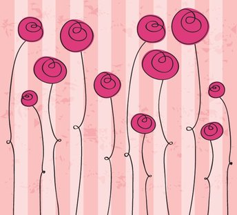 Pink Hand Drawn Flower Background Vector Graphic (Free)