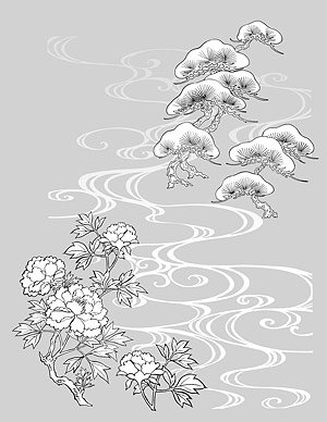 Japanese line drawing of plant flowers vector material -18 (