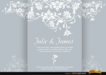Floral triptych brochure marriage invitation