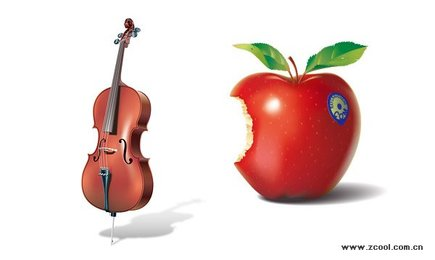 Realistic violin and red apples