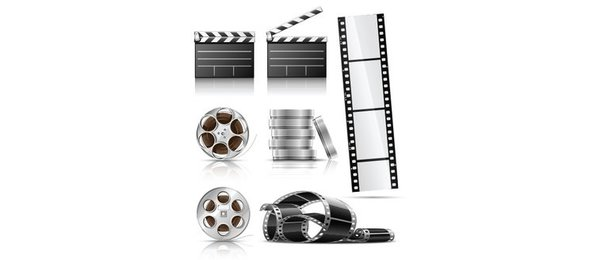 7 Film Reel Clapboard Photography Vector Set