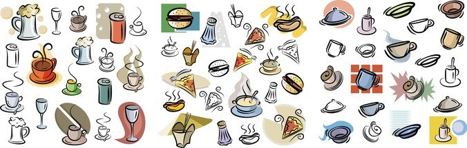 Vector Hand Painted Food & Beverage Set