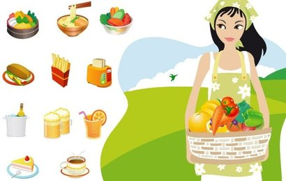 Food & Cooking Vector Graphics Food Lady In