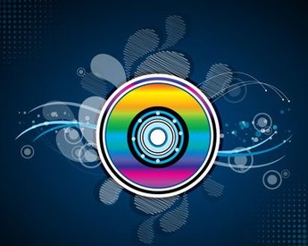 Abstract disc shape with a rainbow filling