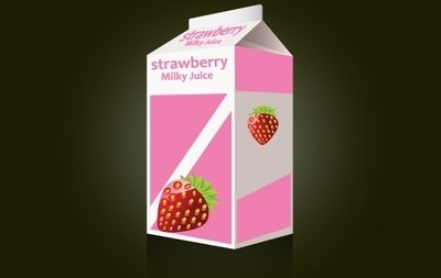 Strawberry Milk Packet Template