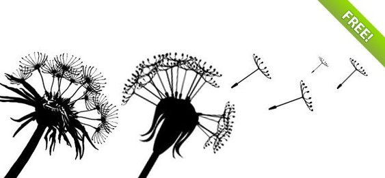 PSD Dandelion Silhouettes with Flying Seeds