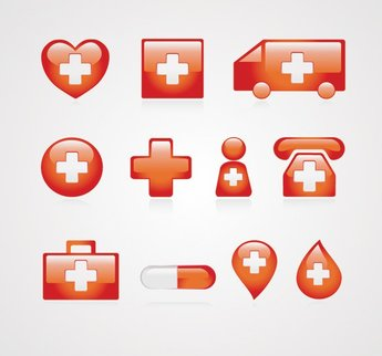 Red Medical Icons Vector Set (Free)