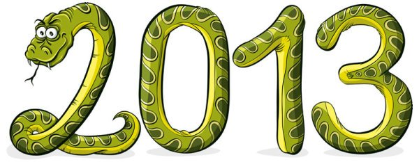 2013 Year of the Snake cartoon background