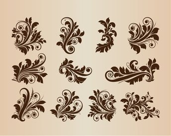 Collection Of Vector Vintage Floral Design Ornament Elements