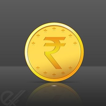Gold Coin vector with Indian Rupee symbol
