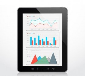 Infographic template on the tablet computer screen