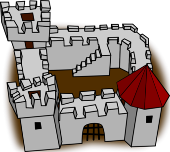 Ugly non-perspective cartoony fort fortress, stronghold or castle